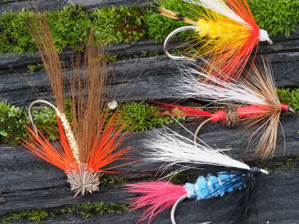 Jay Nicholas.This is a disorganized splat of Stan Davis winter steelhead flies dropped riverside. I thought it made such a nice image. All of these flies fall into the 2.0 size class, and I call this money.